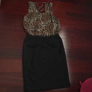 Dresses & Skirts - Leopard print Blouse + pencil skirt